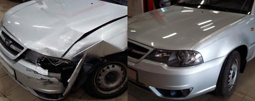 Фото ремонта капота автомобиля до и после